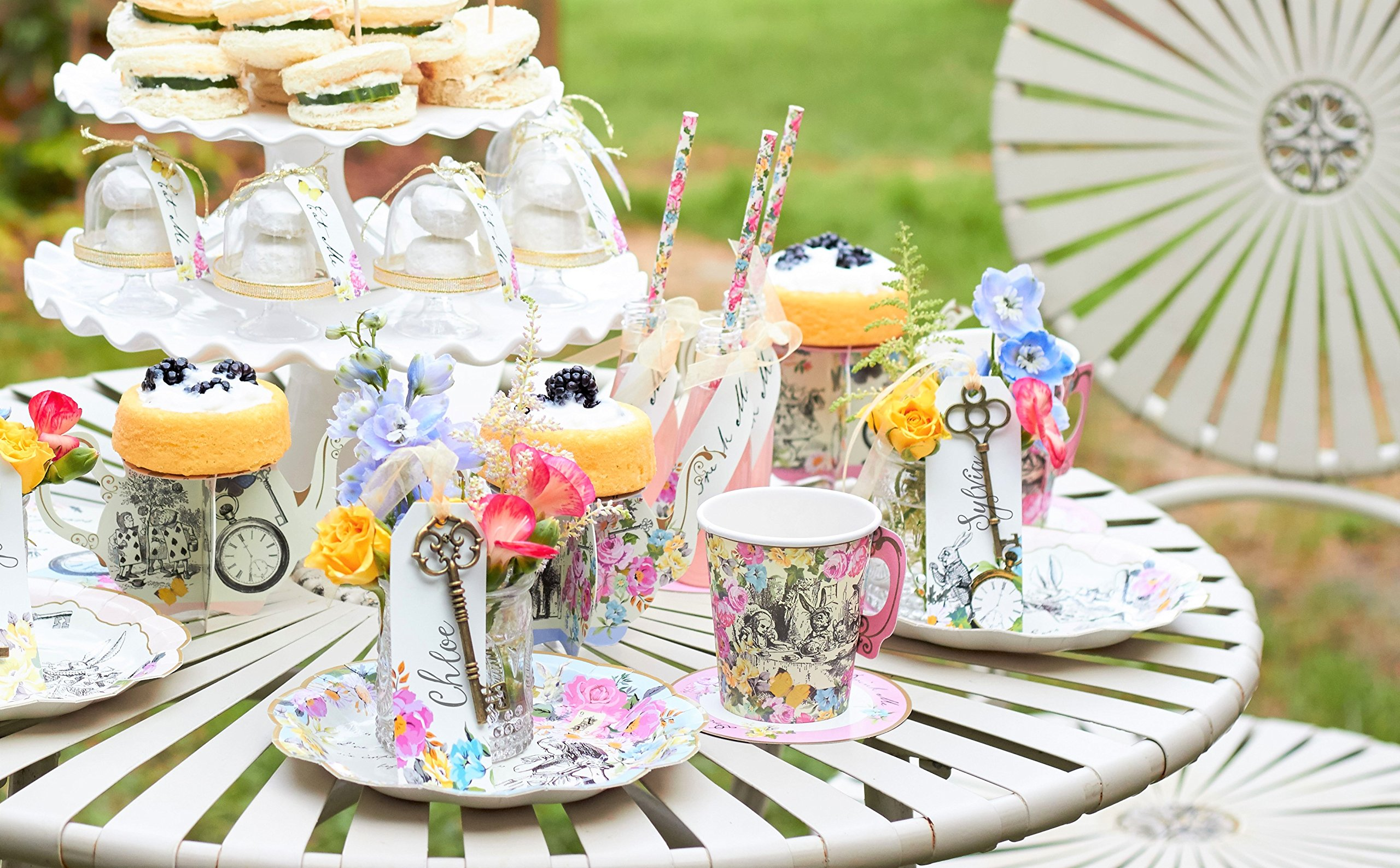 Talking Tables Truly Alice Drink Set Table Décor for a Tea Party, Multicolor (6 Pack) by Talking Tables