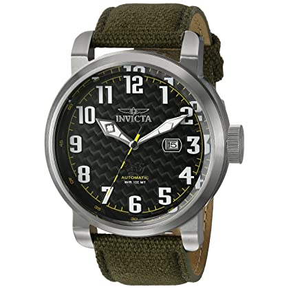115e80736 comInvicta Men's 'Aviator' Japanese Automatic Stainless Steel and Silicone  Casual Watch, Color:Green (Model: 23073) | Amazon