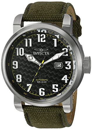 71a8fc493 Amazon.com: Invicta Men's Aviator Stainless Steel Japanese-Automatic Watch  with Silicone Strap, Green, 26 (Model: 23073): Invicta: Watches