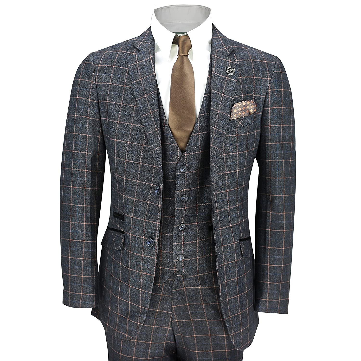 Dress in Great Gatsby Clothes for Men XPOSED Mens 3 Piece Blue Orange Window Check on Charcoal Grey Retro Smart Tailored Fit Vintage Suit £96.99 AT vintagedancer.com