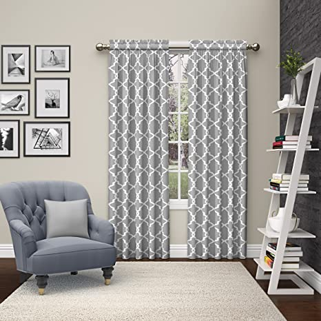 Amazon Com Pairs To Go Vickery Modern Decorative Rod Pocket Window Curtains For Bedroom Or Living Room Double Panel 28 X 84 Gray Home Kitchen