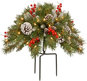 National Tree Company Pre-lit Artificial Christmas Urn Filler | Flocked with Mixed Decorations and Pre-strung LED Lights with Stand | Frosted Berry - 18 Inch
