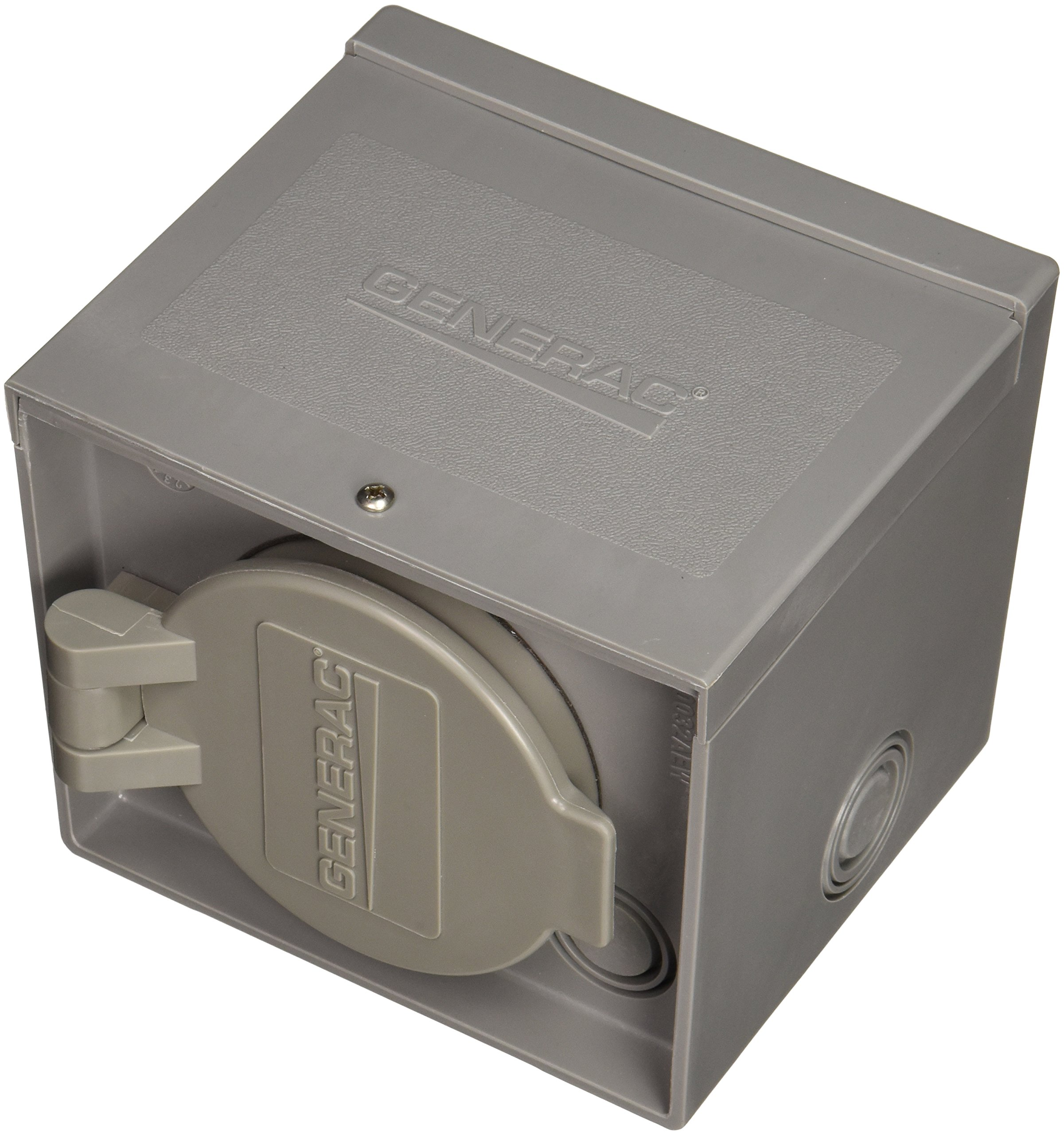 Generac 6340 30-Amp 125/250V Raintight Power Inlet Box with Spring-Loaded Flip Lid by Generac