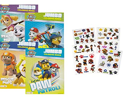 Amazon.com: PAW Patrol Coloring And Activity Book Set (4 Books ~ 96 Pages)  Chase, Rocky, Marshall, Skye, Zuma, And Rubble Plus Tattoos (75 Temporary  Tattoos): Beauty