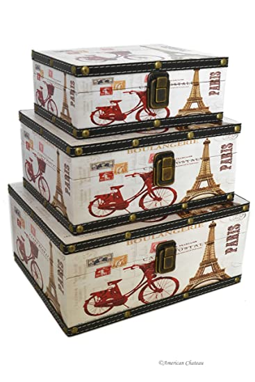 Set 3 Eiffel Tower Paris Wood Nesting Vintage Trunks Home Storage Boxes