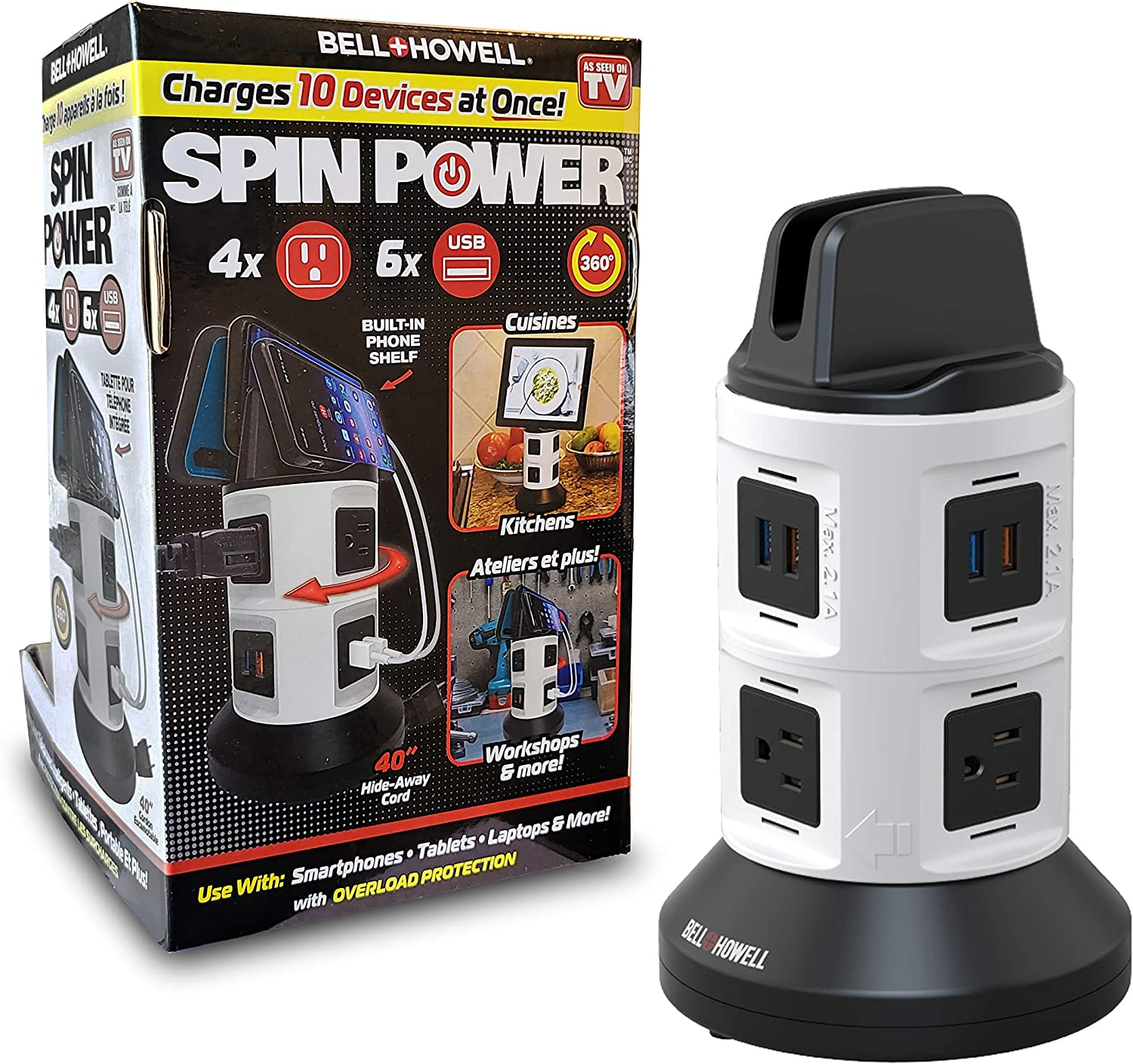 """Spin Power by Bell+Howell Surge Protector Electric Charging Station 4 Outlets 6 USB Ports with 45"""" Retractable Cord Built-in Phone Holder As Seen On TV"""