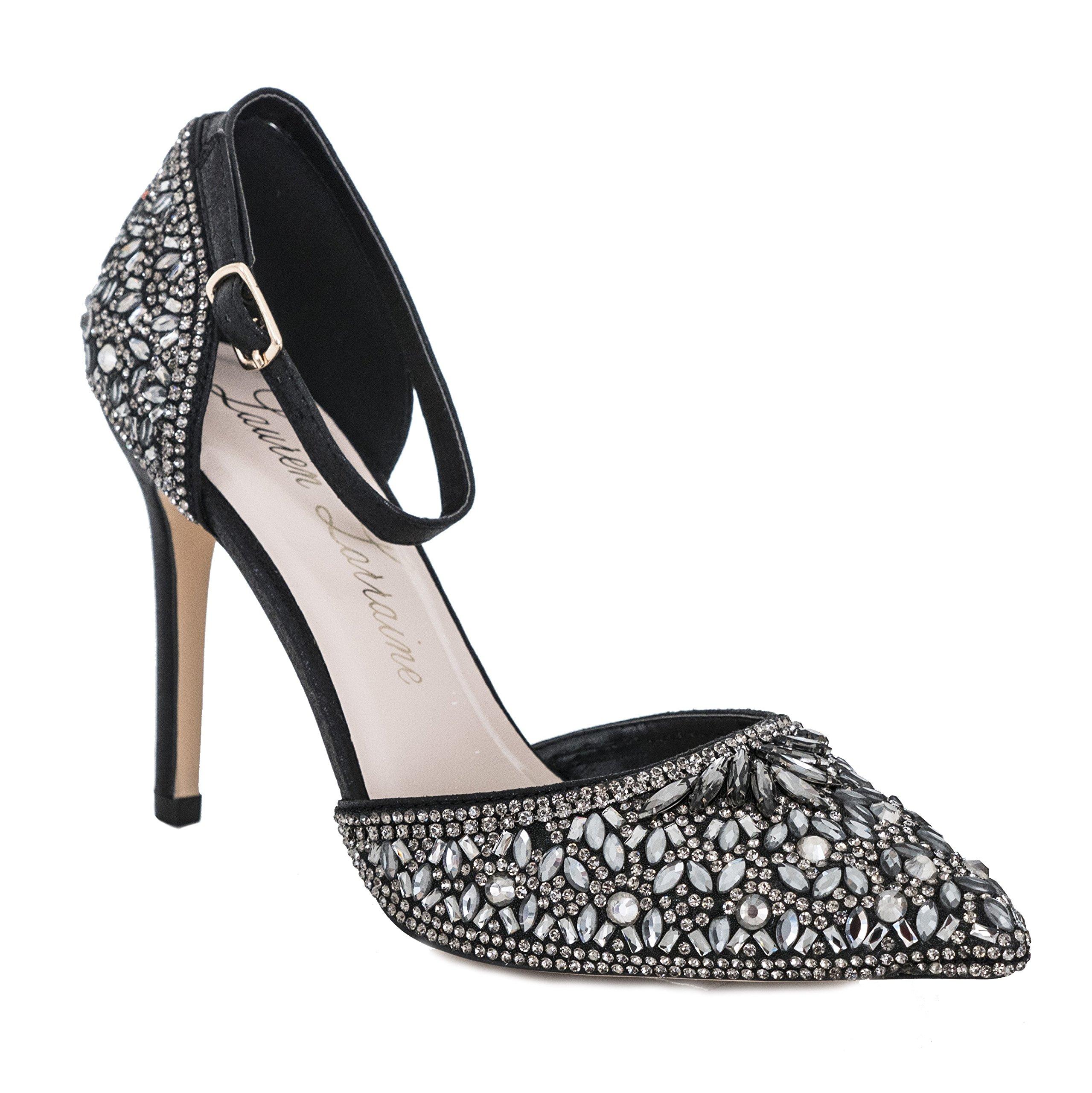 Lauren Lorraine Rose Crystal Black Women's Evening Dress High Heel Ankle Strap D'Orsay Pointed Toe Wedding Pump Black Size 6.5