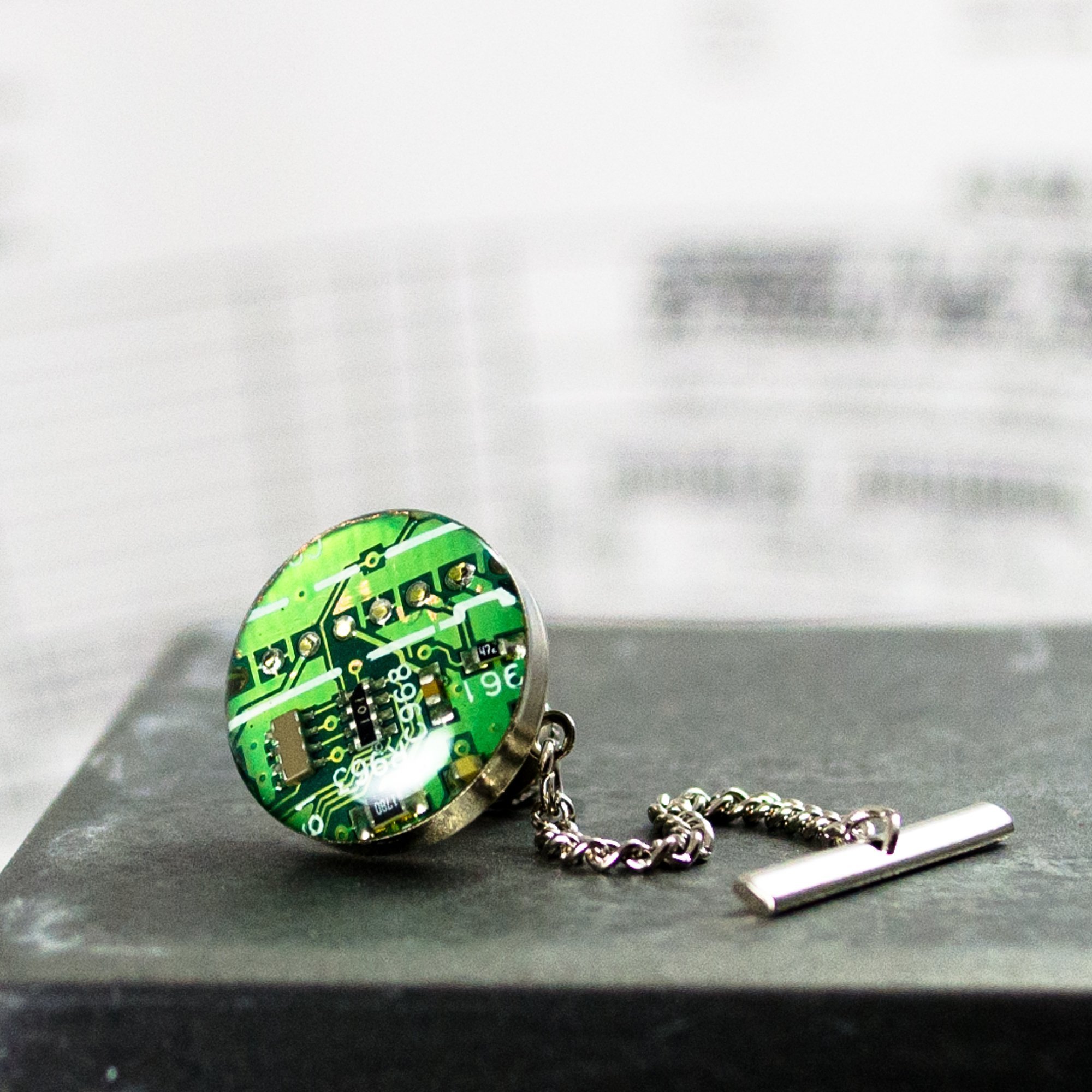 Green Circuit Board Tie Tack