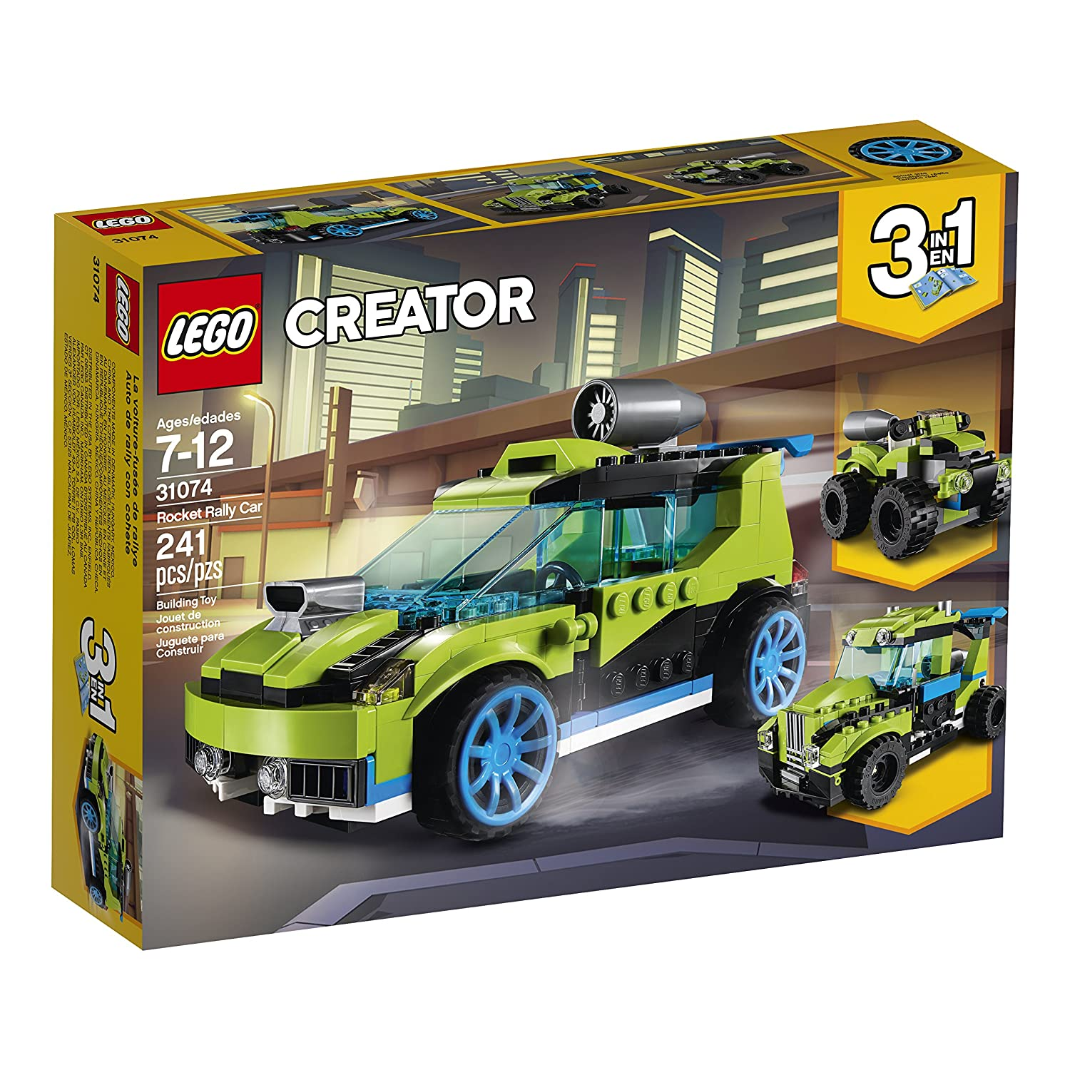 Amazon.com: LEGO Creator 3in1 Rocket Rally Car 31074 Building Kit (241  Piece): Toys & Games