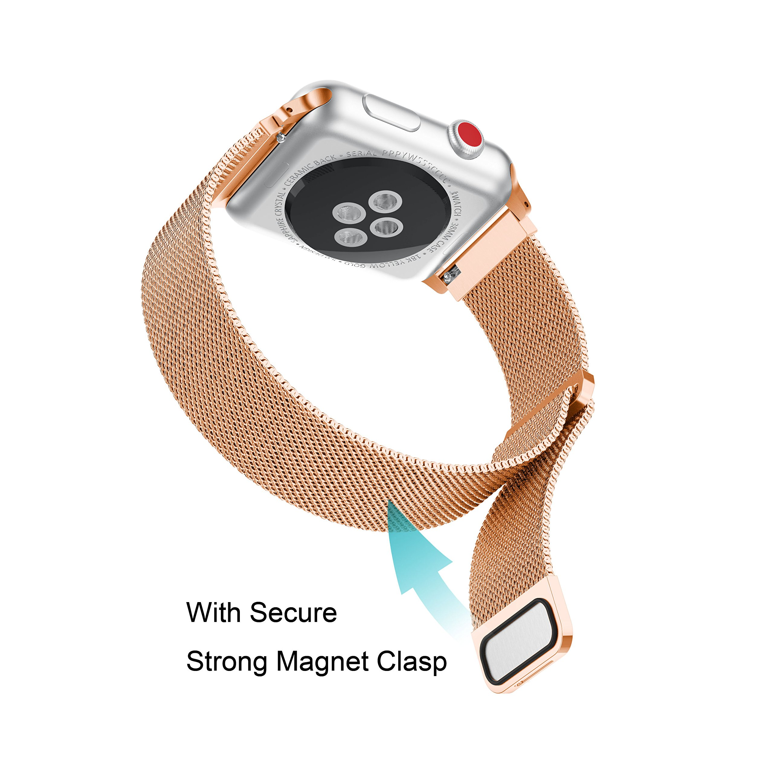 Apple Watch Band 42mm, Supore Fully Magnetic Closure Clasp Mesh Loop Milanese Stainless Steel Replacement Bracelet Strap for iWatch Band Series 3/ 2/ 1, Rose Gold