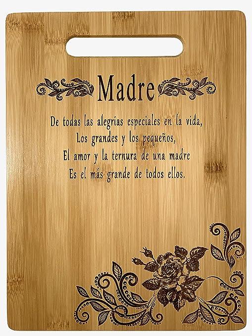 Gift for mom Spanish-Regalo para mamá: tabla de cortar de bambú grabada única