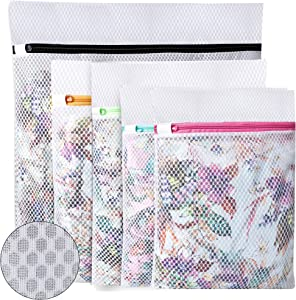BAGAIL Set of 5 Honeycomb Mesh Laundry Bag for Blouse,Hosiery,Stocking,Underwear,Bra Lingerie Premium Laundry Bags for Travel Storage Organization (5 Set)