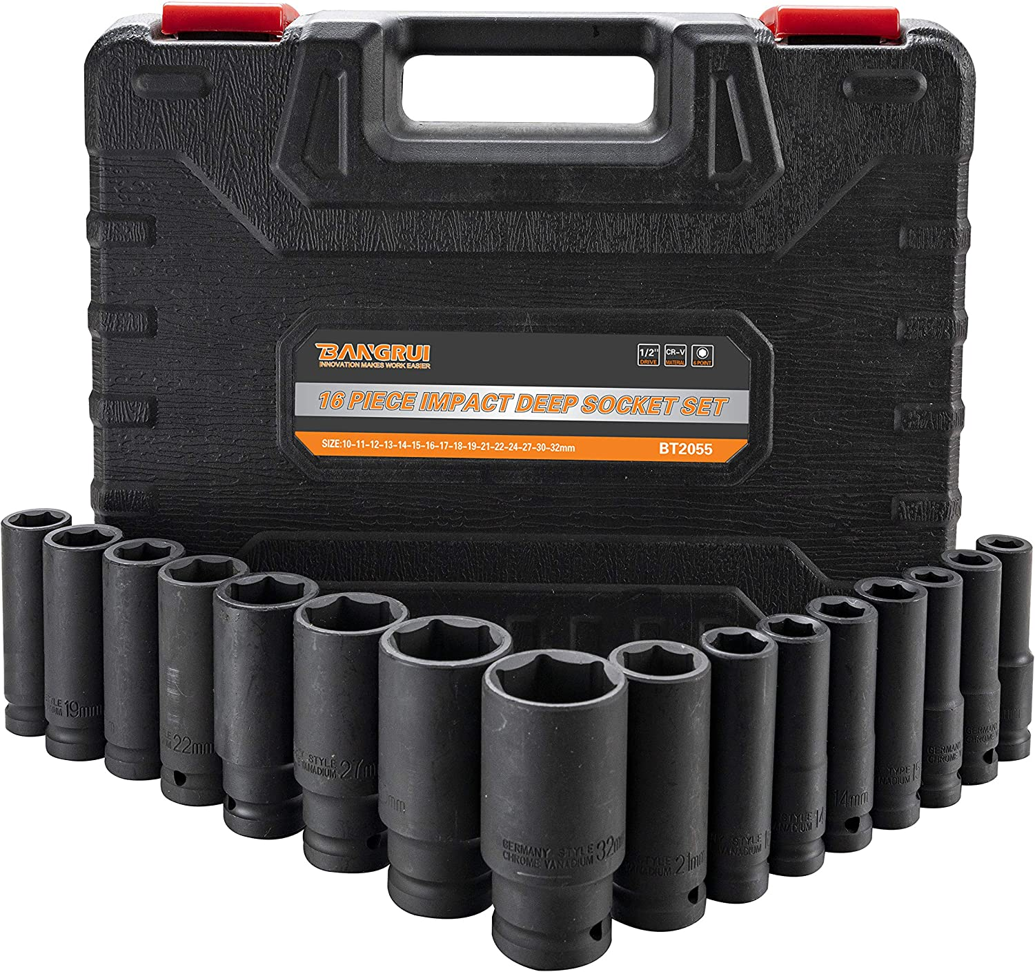 16PCS 1//2-inch Drive 6 Point Metric Impact Deep Socket Set 10MM-32MM