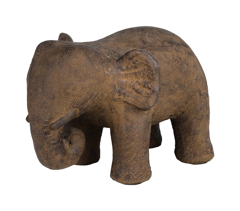 Amaris Elements   Türstopper 'Elise' Tierfigur Stein Elefant, grau braun, Türpuffer Boden schwer Stein massiv ca. 14 kg, Dekofigur für Drinnen und draußen, 20x30xH22 cm Gartendekoration außen