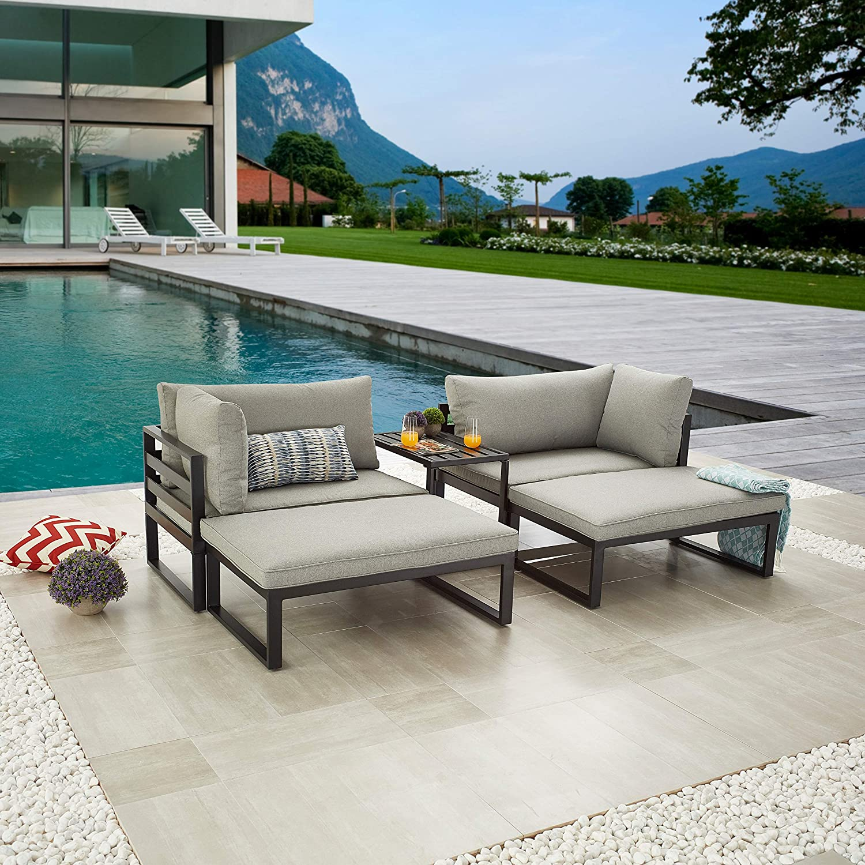 LOKATSE HOME 5 Piece Patio Set Balcony Outdoor Loungue Chair Sectional Sofa Furniture with Ottoman and Coffee Table, Gray