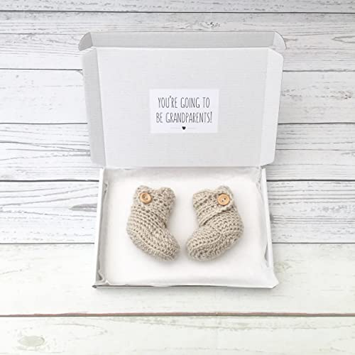 pregnancy announcement booties gender neutral crochet baby booties