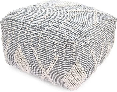 Great Deal Furniture Winnie Large Contemporary Faux Yarn Pouf Ottoman