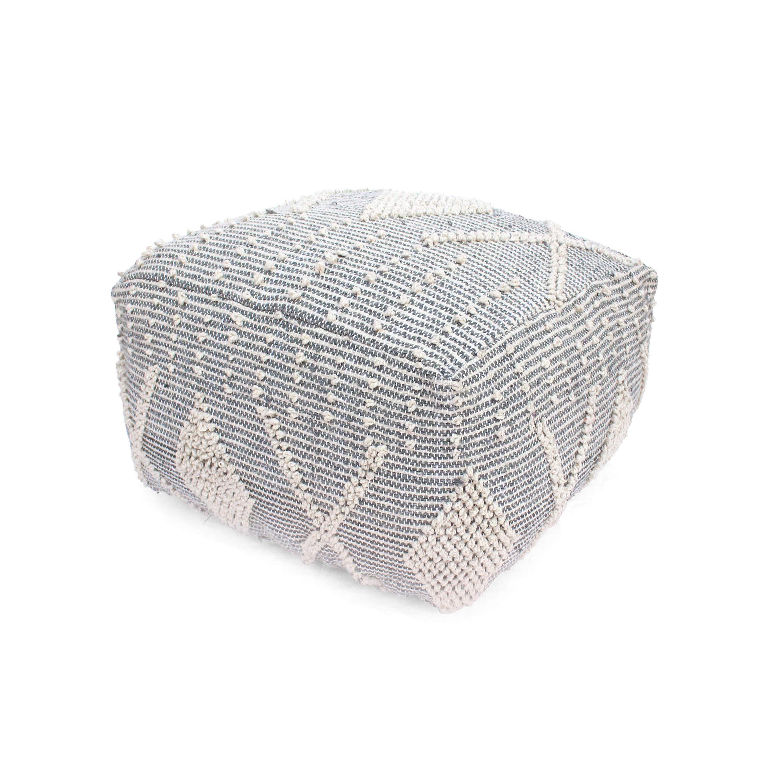 Great Deal Furniture Winnie Large Contemporary Faux Yarn Pouf Ottoman, Ivory and Gray by Great Deal Furniture