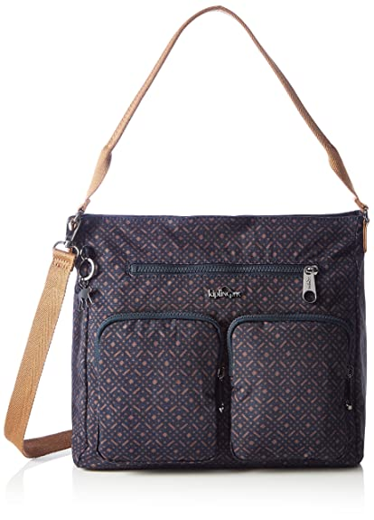 Kipling Tasmo Medium Shoulder Bag Woven Blue Geo