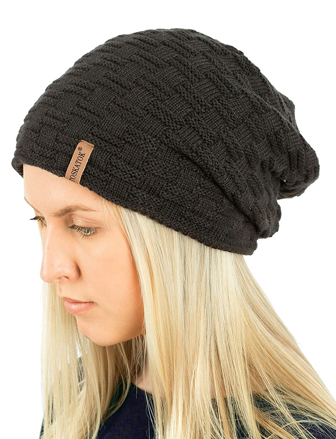 TOSKATOK® Ladies Mens Unisex Warm Winter Textured Knit Slouch Beanie hat with Cosy Faux Fur Teddy Fleece Liner
