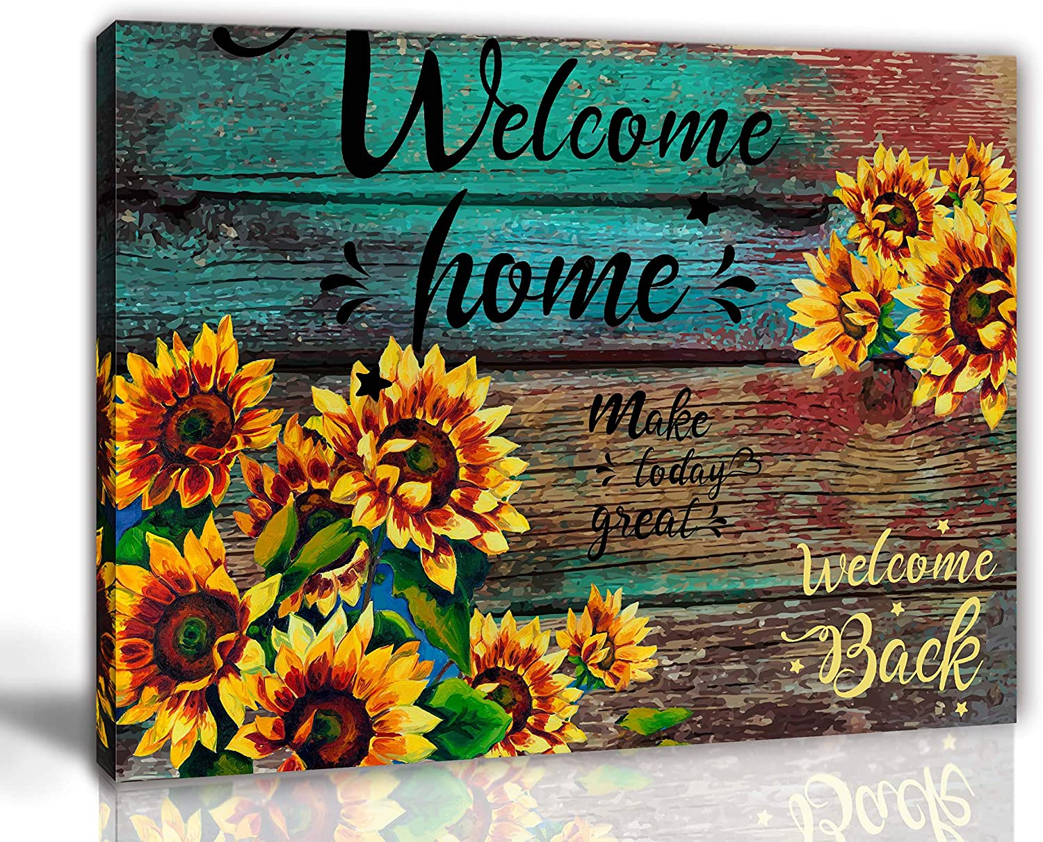 Amazon Com Aburaeart Farmhouse Kitchen Decor Sunflower Bathroom Office Wall Art Rustic Home Pictures For Bedroom Yellow Stars Flowers Canvas Living Room Size 12x16