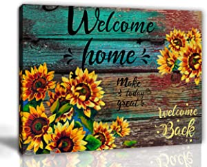 aburaeart Farmhouse Kitchen Decor Sunflower Bathroom Decor Office Wall Art Rustic Home Decor Pictures for Bedroom Yellow Stars Flowers Canvas Wall Art Living Room Wall Decor Size 12x16