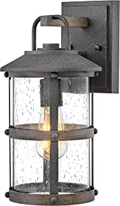 Hinkley 2680DZ Lakehouse - One Light Outdoor Small Wall Lantern, Aged Zinc/Driftwood Grey Finish with Clear Seedy Glass