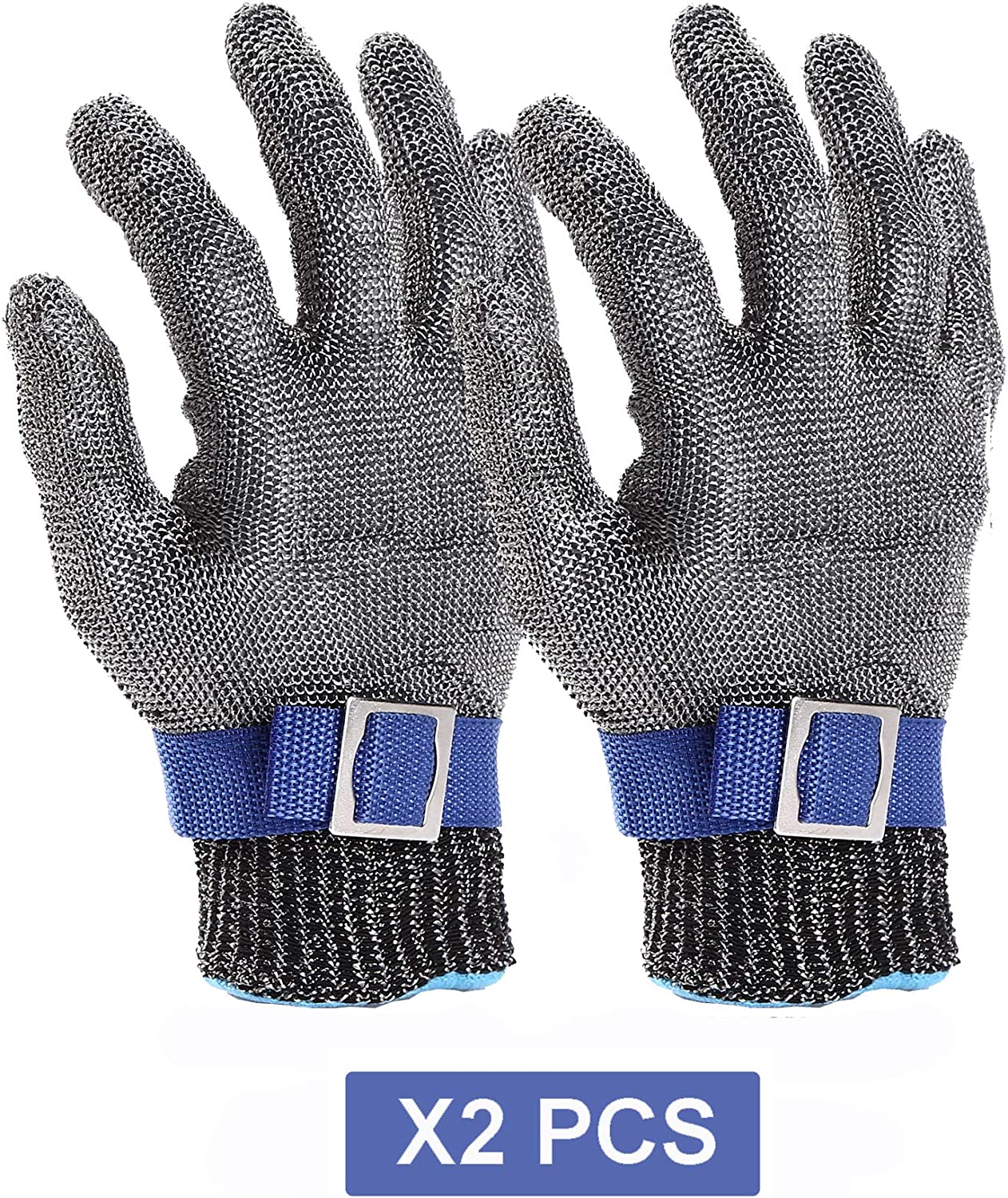 Cut Resistant Gloves-Stainless Steel Wire Metal Mesh Butcher Safety Work Gloves for Meat Cutting, fishing (M 2PCS)