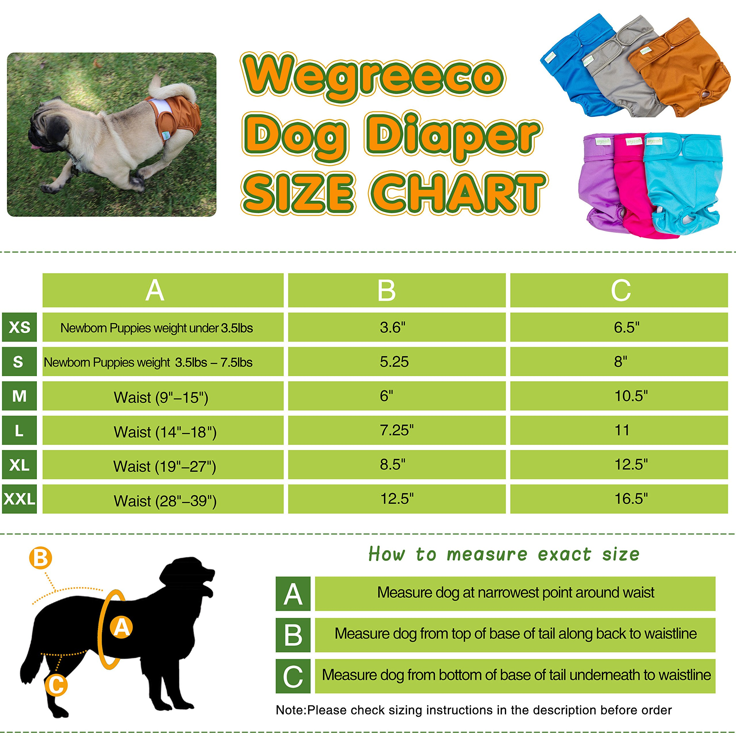 Wegreeco Washable Reusable Premium Dog Diapers, Extra Large, Natural Color,  for Female Dog, Pack of 3