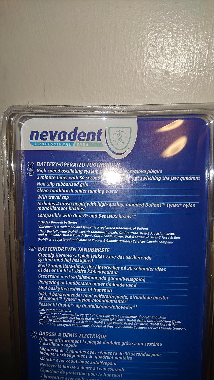 nevadent® batería de cepillo de dientes - Compatible con Oral-B ® y denta Lux cabezales de cepillo, color azul: Amazon.es: Salud y cuidado personal
