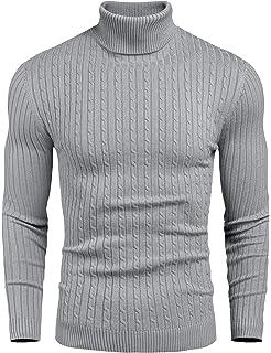 Smokeyojos Mens Turtleneck Mock Turtleneck Slim Fit Long Sleeve Pullover Sweater