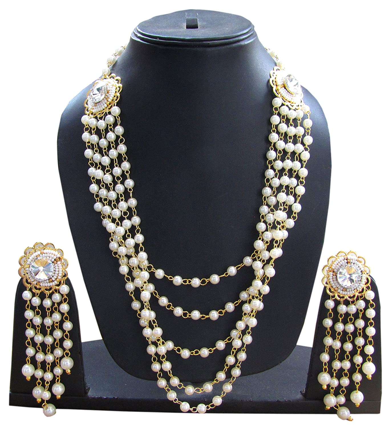 Shoppingover Womens Bollywood Jwelleries Pearl Necklace Jewelry Set with Earrings Pearl Color 200NKS