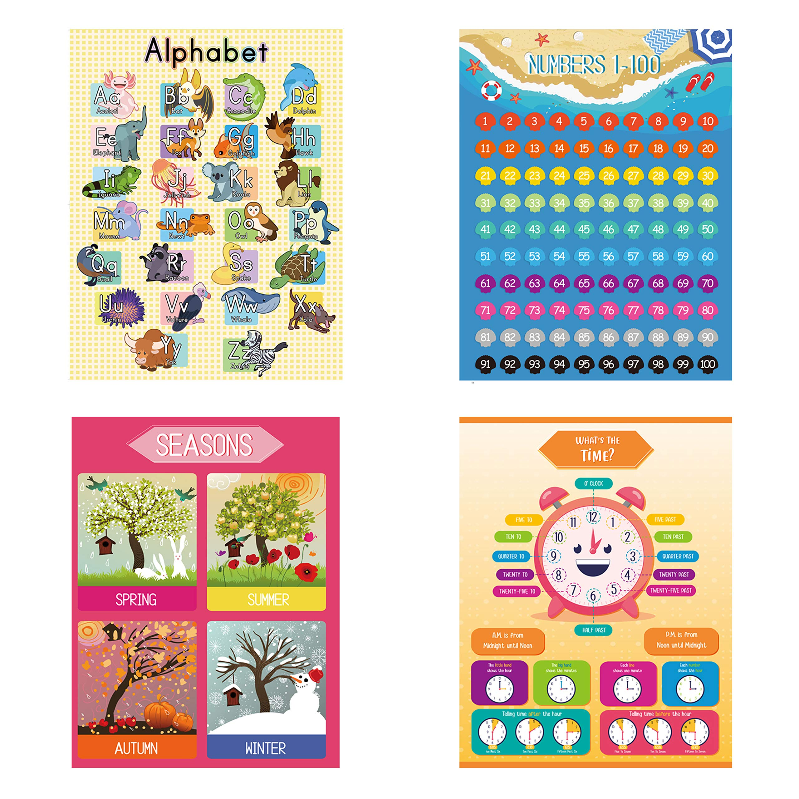 Learn The Letters Great for Home and Schools Numbers Shapes 16 Large Posters Trucks merka Educational Posters USA Map and More Animals Size 17 x 22 inches Kindergarten Set Colors