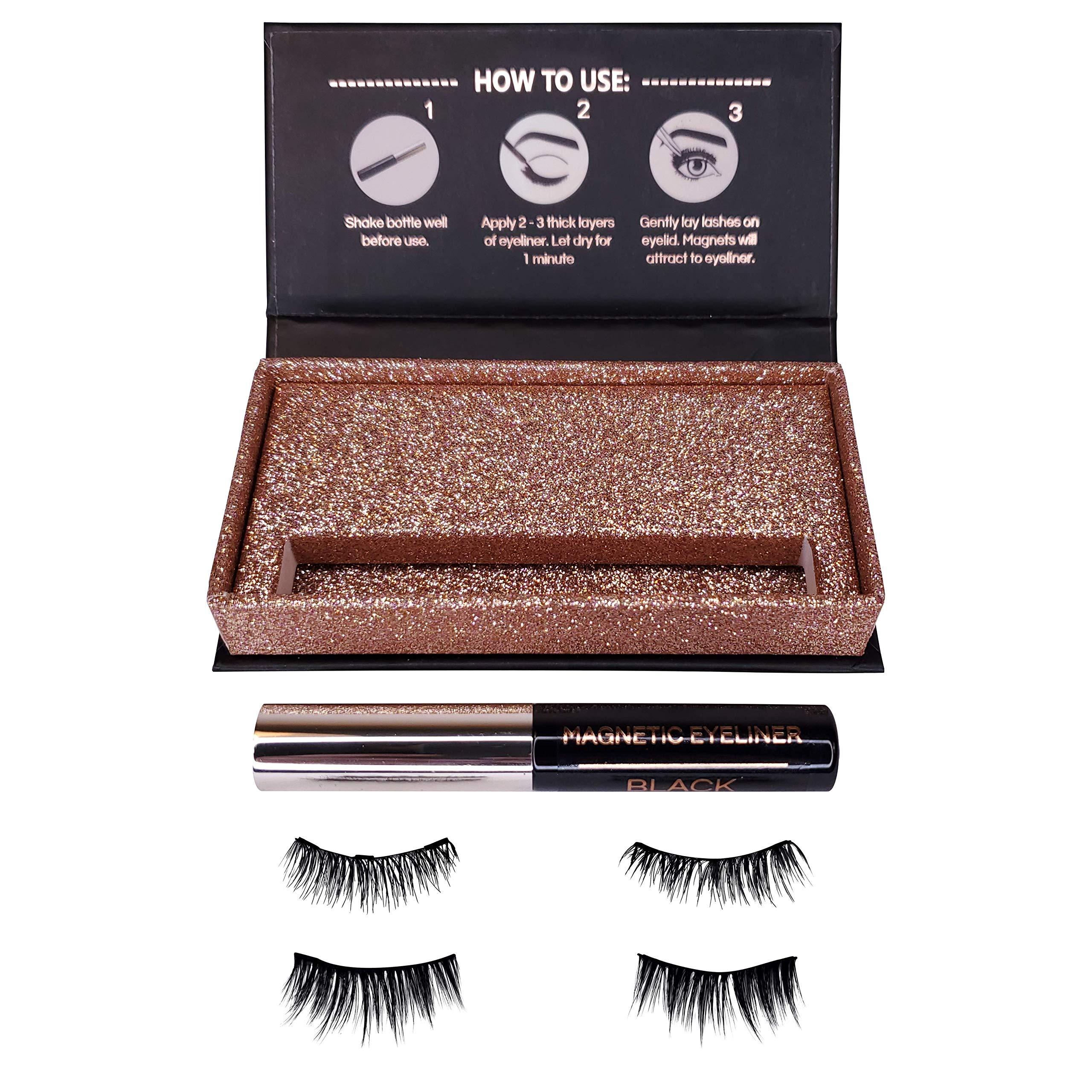 Day to Night Magnetic Eyeliner and Eyelash Kit - Reusable Silk False Lashes - Natural Look [No Glue] - By Clevermore Essentials by Clevermore Essentials, LLC. (Image #3)