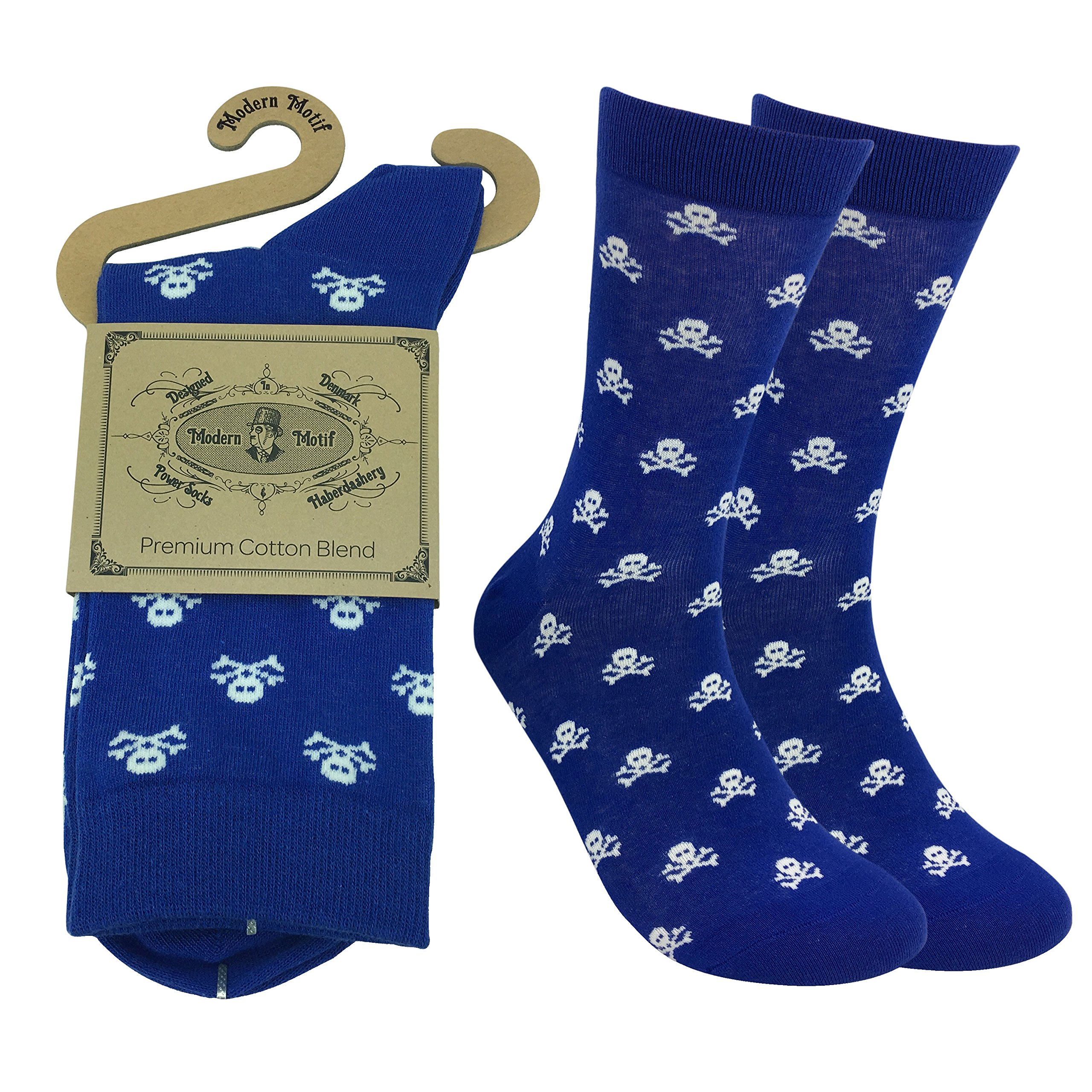 Fine Fit Men's Nevy Blue Luxury Cool Cotton Socks - Funky Fun Casual Fashion Argyle Socks Collection- Single Pairs