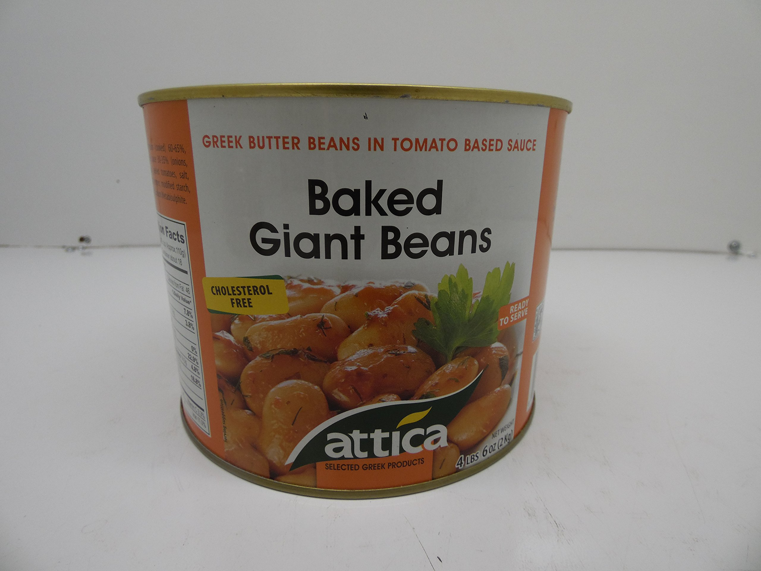 Attica Greek Butter Beans in Tomato Based Sauce,Baked Giant Beans, 4 lbs 6 oz