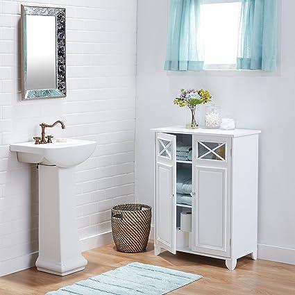 Amazon Com White Wood And Glass Bathroom Linen Cabinet Kitchen