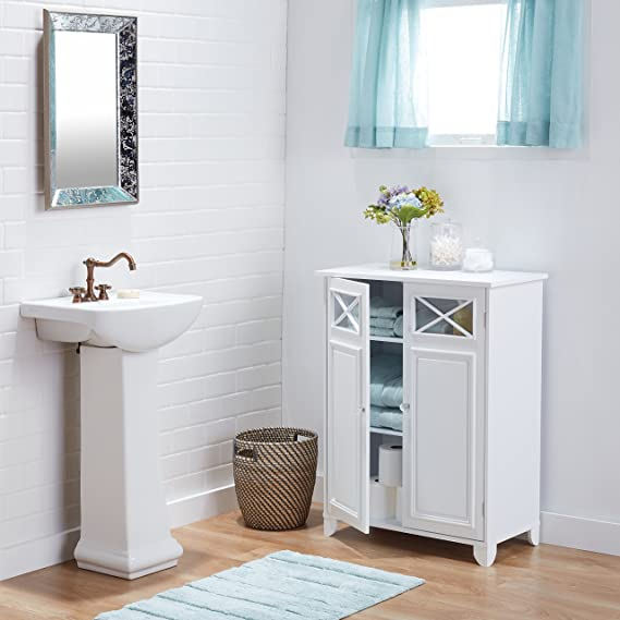Exceptionnel White Wood And Glass Bathroom Linen Cabinet