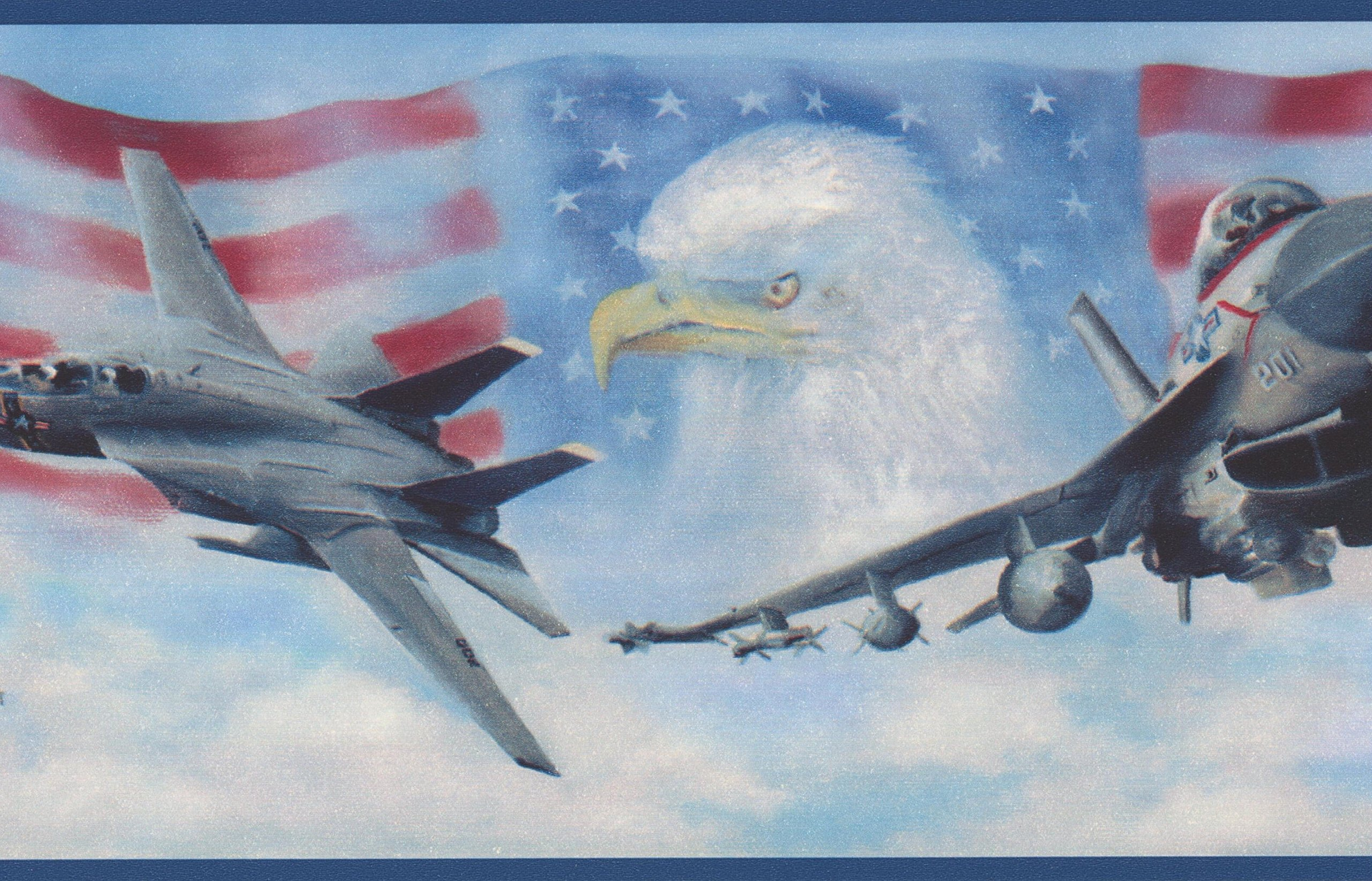 USA Air Force Jet Fighters American Flag Bald Eagle Patriotic Wallpaper Border Retro Design, Roll 15' x 7''