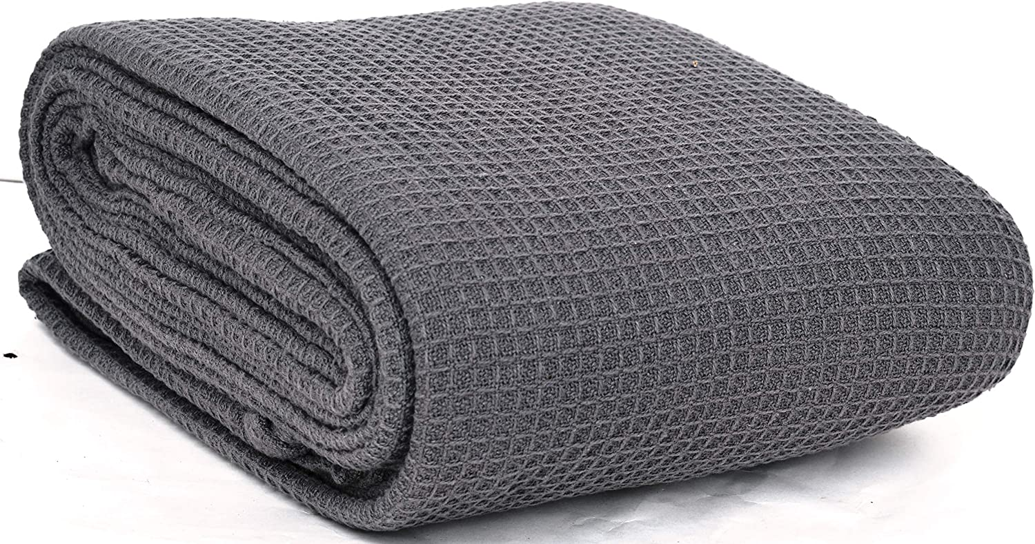 EUROTEX 100% Cotton Thermal Blanket - 350GSM Soft Blanket in Waffle Weave for Home Decoration - Perfect for Layering Any Bed for All-Season - Full/Queen Size (90 x 90 inches), Grey