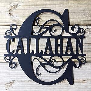 Scroll Monogram Family Name Metal Sign - Last Name & Scroll Initial Steel Wall Hanging - Newlywed Wall Art - Housewarming Wall Art - Home Wall Decor 22 inch