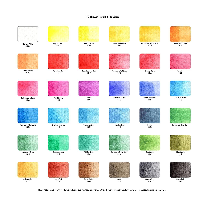 36 Colors-Assorted Colors Koi Watercolor Pocket Field Sketch Box