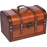 Trademark Innovations Small Wood and Leather Decorative Chest