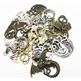 Zhanyue Embellishment 16pcs/8pairs Antique Charms Alloy Dragon Pendant Craft Accessory Diy Fire Dragons Necklace Craft Making Supply (Dragon)