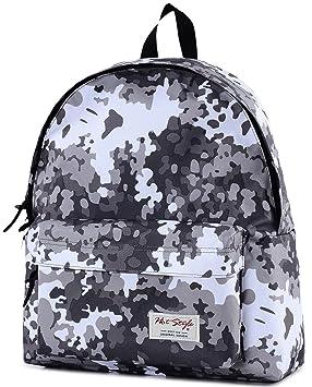Camuflaje Mochila Escolar - HotStyle ligero Teens Bookbag para 13.3 Laptop, D129B, White (Varios colores) - HTDUS129B: Amazon.es: Equipaje