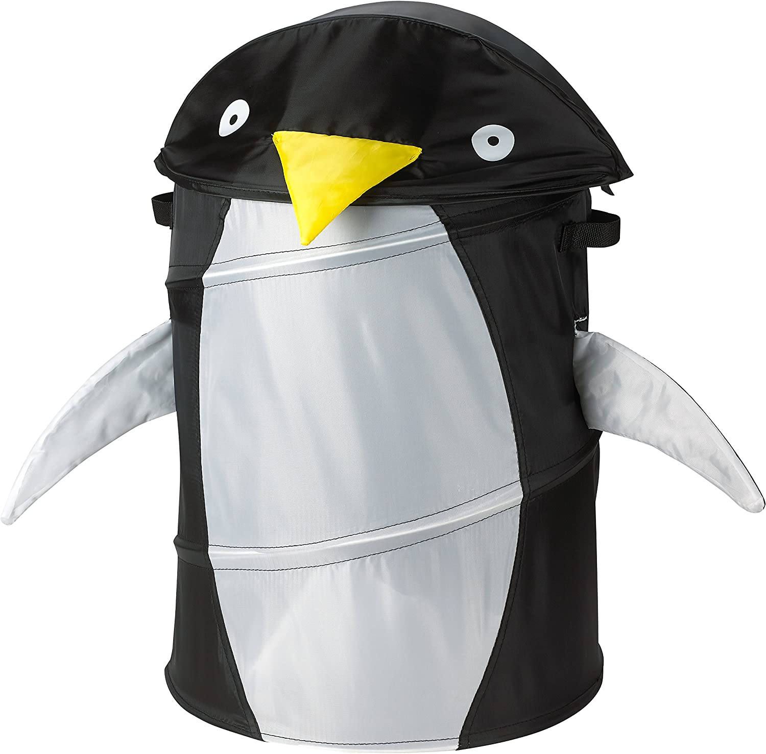 Kids Pop-Up Laundry Hamper, Penguin - Folds Flat for Storage and Easy to Open. Children Will Love The hampers Black Penguin Head That Tips Back Serving as a lid, with its Cute Eyes and Yellow Beak.