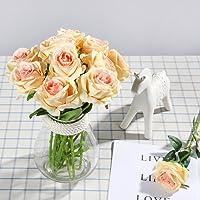 Veryhome Rose artificiali, ideali per le decorazioni in vaso, i matrimoni, i compleanni, per il giardino o i defunti, in seta, colore rosso, confezione da 10 pezzi