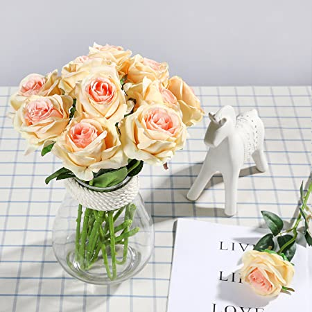 Veryhome 10pcs Artificial Silk Roses Flowers Fake Rose Flowers For