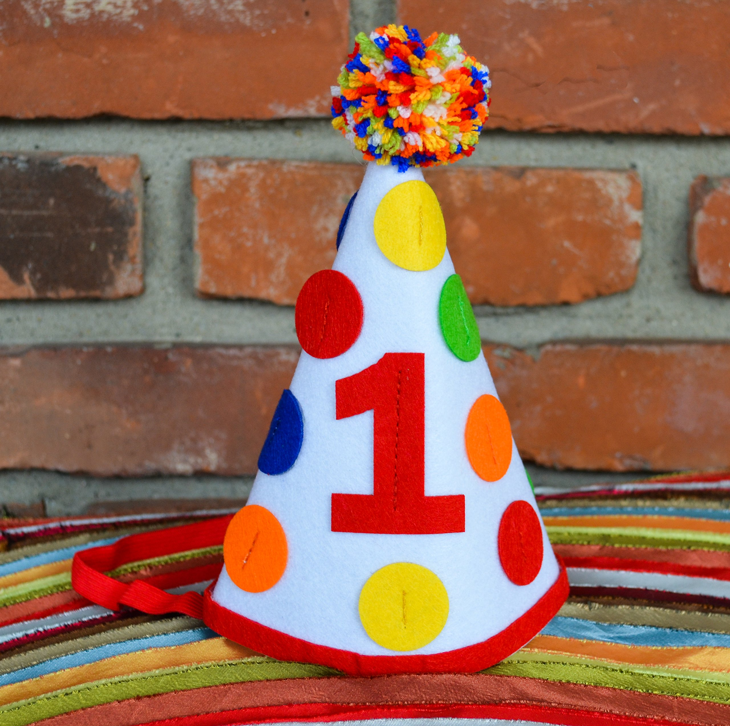 1st First Birthday Baby Boy Colorful Pom Pom Party Hat Girl Cake Smash Party Decorations by Birdy Boutique (Image #4)