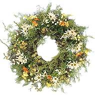 Emlyn Silk Decorative Front Door Wreath 16 Inch - Year Round Beautiful Silk Wreath Transforms Front Door Decor,Wedding, Home Decor